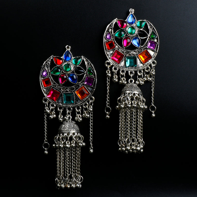 Half Moon Multicolored Stone Jhumki