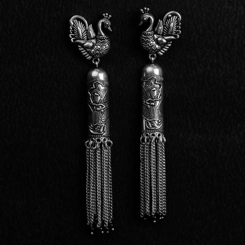 Silver tone hanging Earrings with Bird motifs