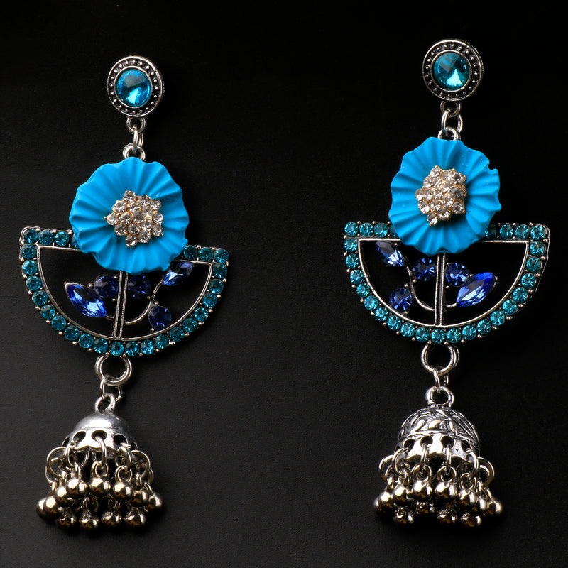 Blue Crysto Oxidised Earrings