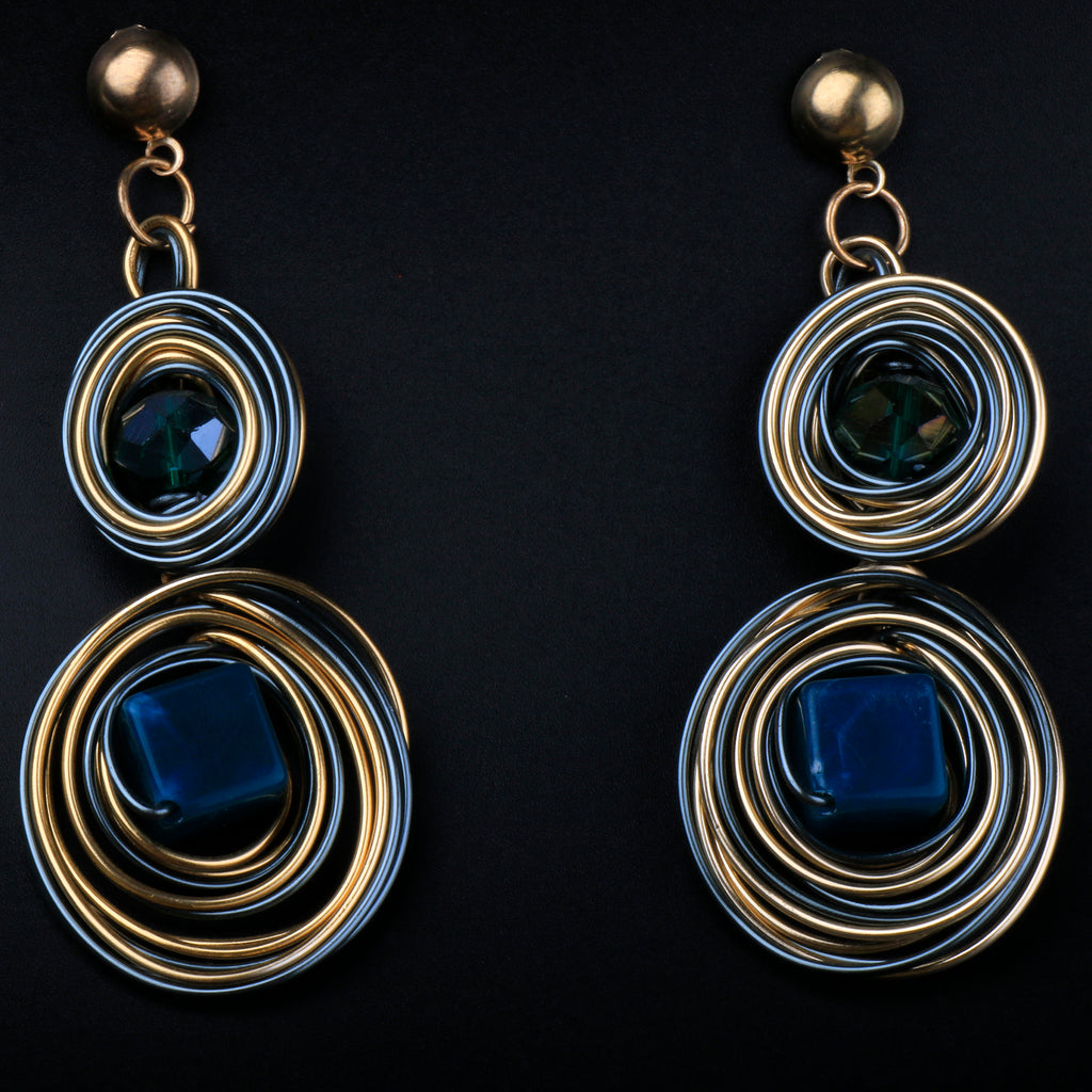 Metalic Blue Coiled Earrings