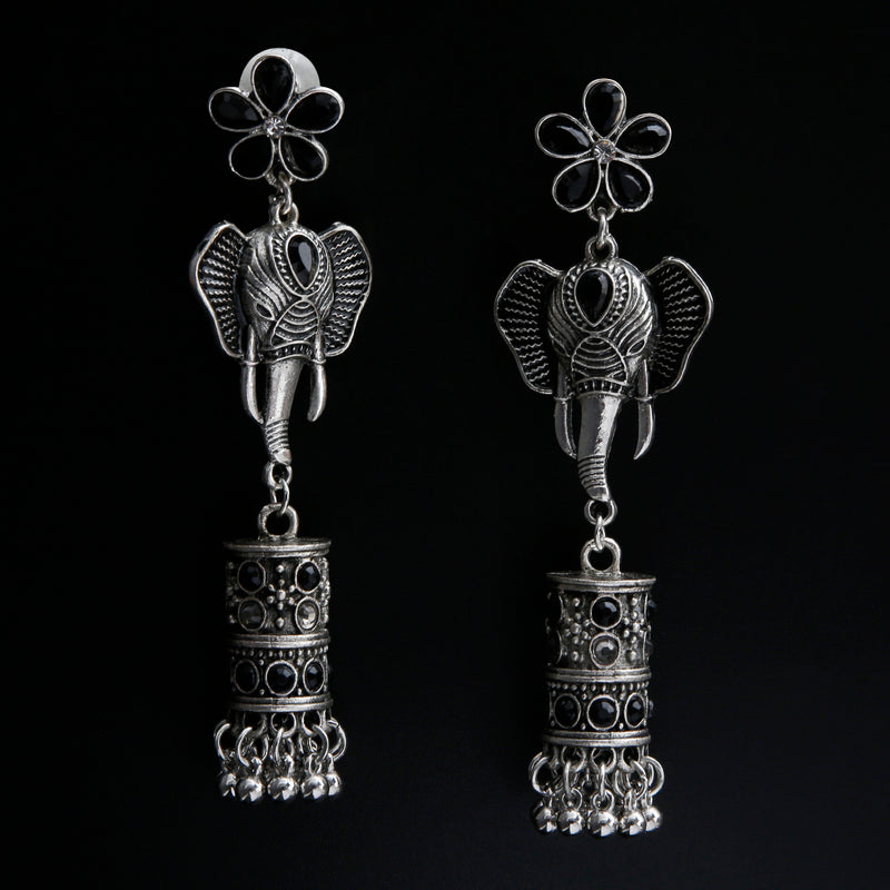 Black and Beauty floral tusk imbued oxidised danglers