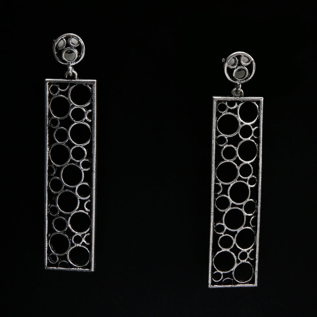 Double bubble Earring in silver tone