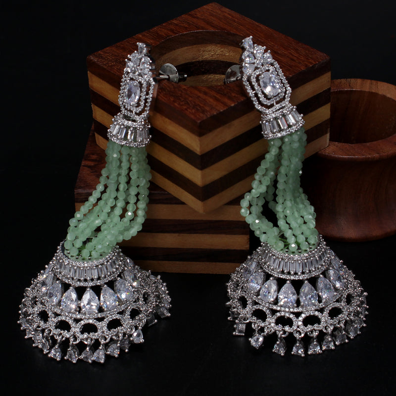 Chandelier diamond Earring with pastel green crystal beads