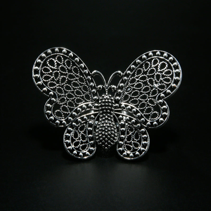Oxidised Butterfly adjustable Ring