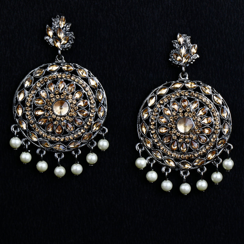 Crystal dangles with hanging pearls