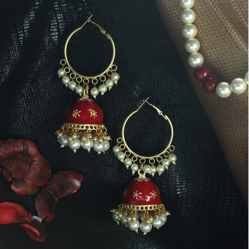 Red enamelled jhumka with hanging pearls