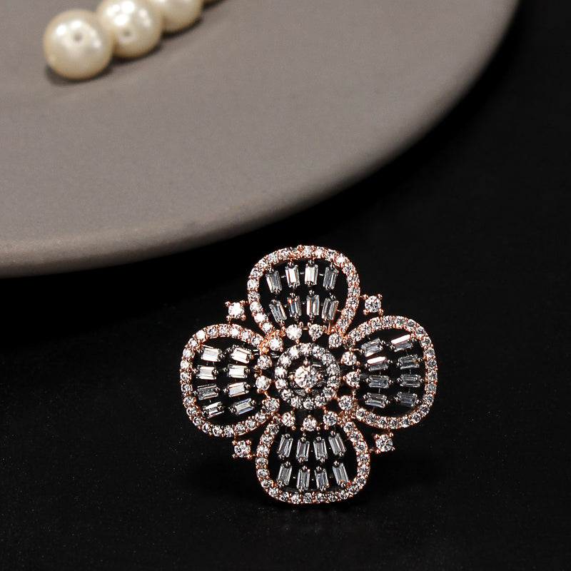 Zirconia Floral Ring