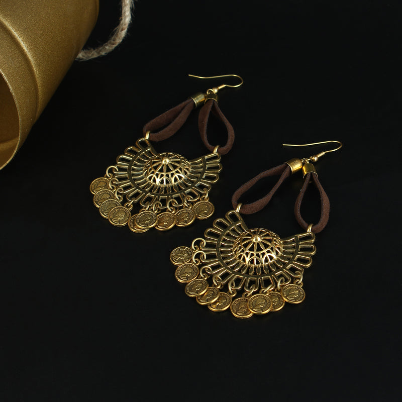Handmade Brass dangles with Leather strings
