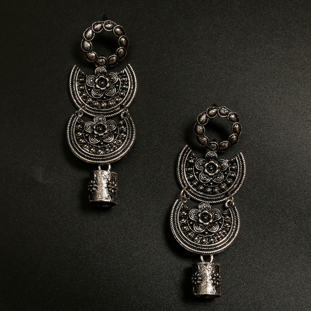4 Tier hanging lampshade oxidised Earring