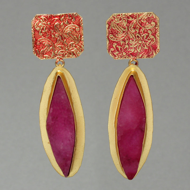 Unpolished natural stone embedded in Brass based gold diamond shape Earring