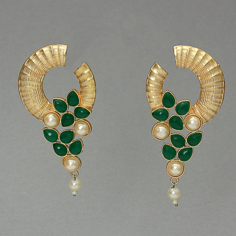 Golden Textured Pearl And Green Stone Dangler Earring