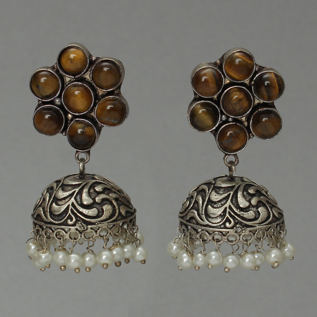 DUAL BROWN TONE FLORAL JHUMKI WITH PEARL BASE
