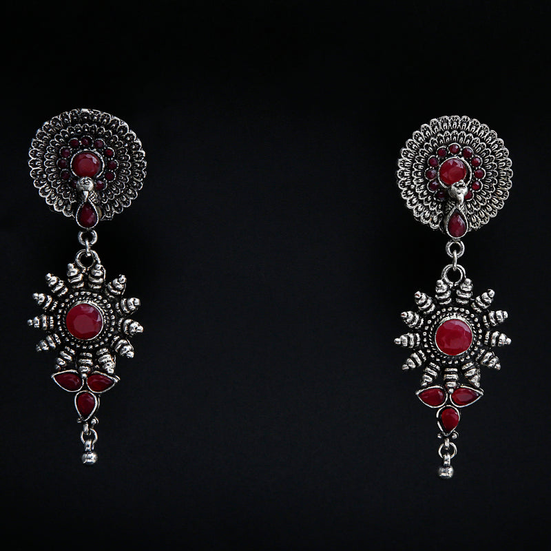 OXIDISED HANGING EARRING WITH RED STONES
