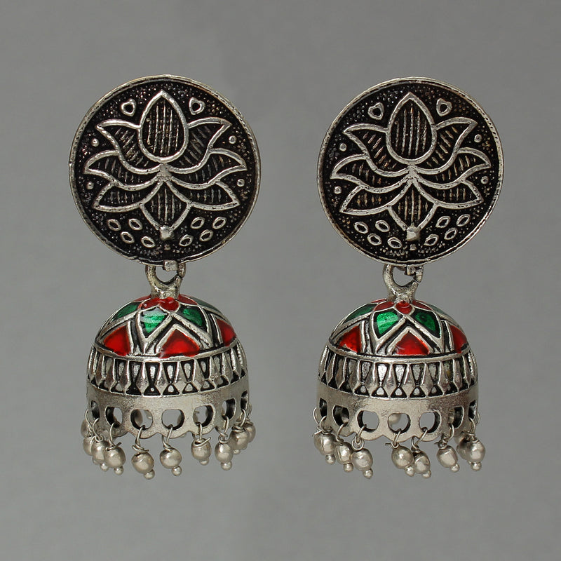 Oxidised dome shaped Jhumki
