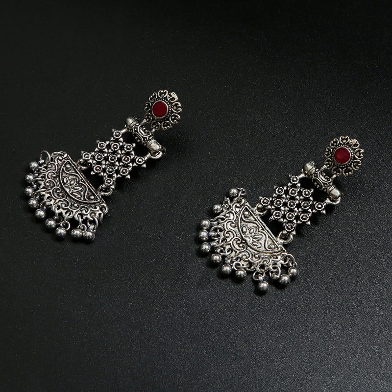 OXIDISED SILVER LONG JHUMKI WITH RED STONE