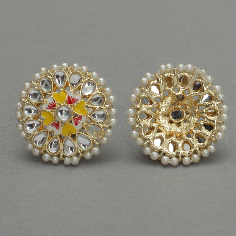 Shine on with Kundan yellow floral Ear studs