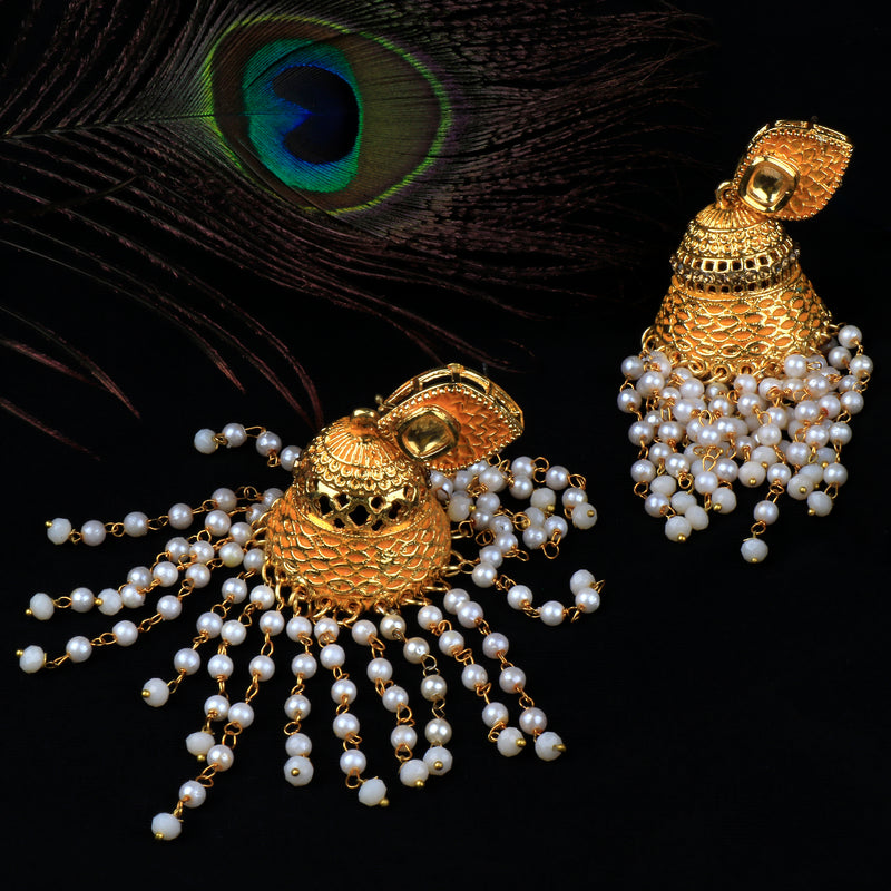 Gold jhumka with Pearl fringes