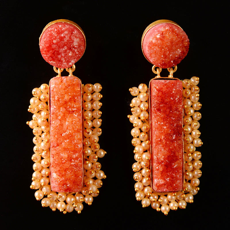 Orange Unpolished Stone Embellished With pearls