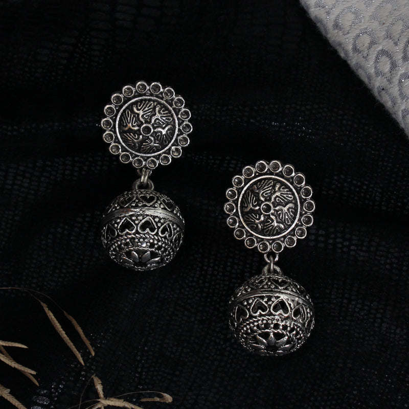 SILVER BALL HANGING EARRINGS
