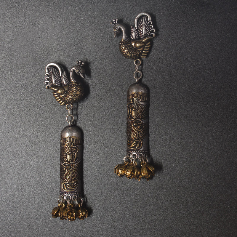 Double tone Silver hanging Earrings with Bird motifs