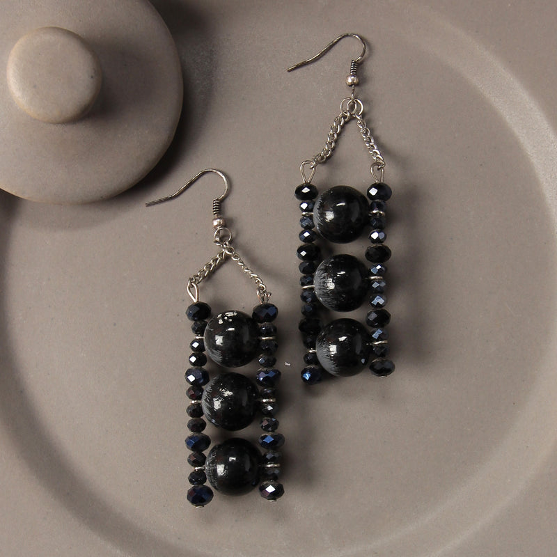 Black crystal one on one Earring