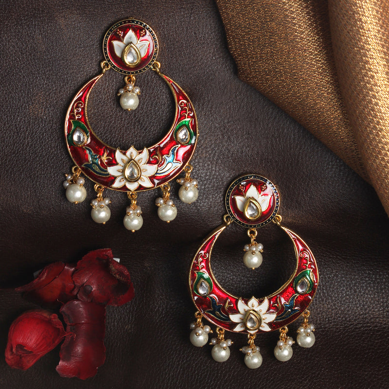 Red Meenakari Dangle Earrings