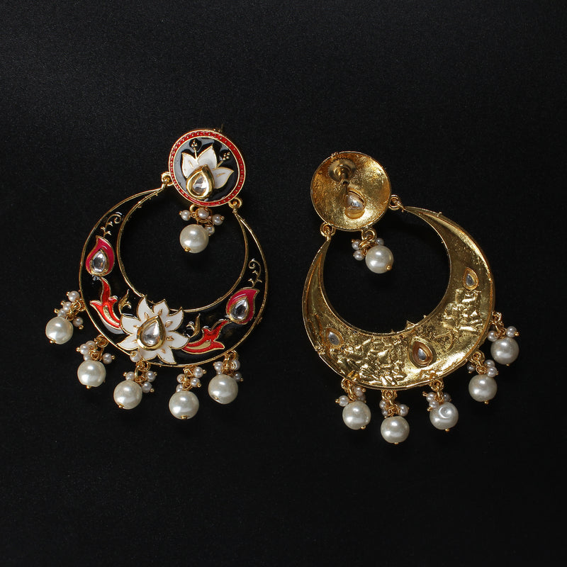 Black Meenakari Dangle Earrings