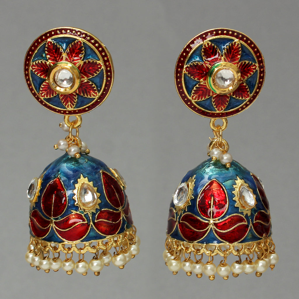 Blue-Red enamelled jhumka embellished with embedded Kundan
