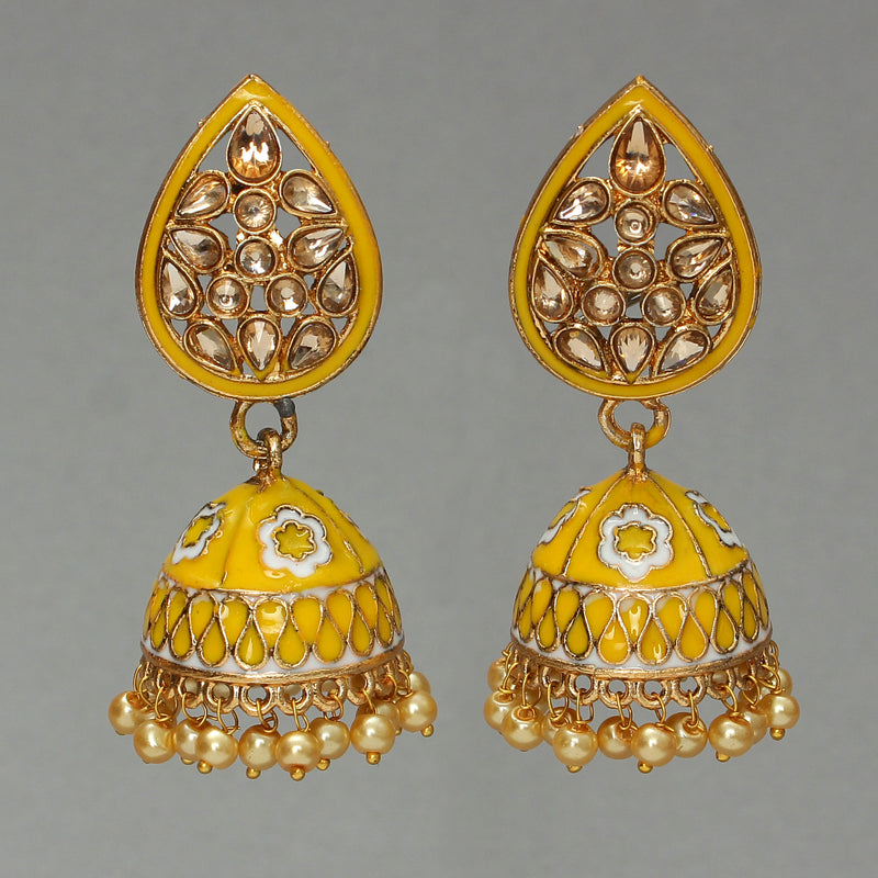 Yellow enamelled drop shaped jhumka polki earring