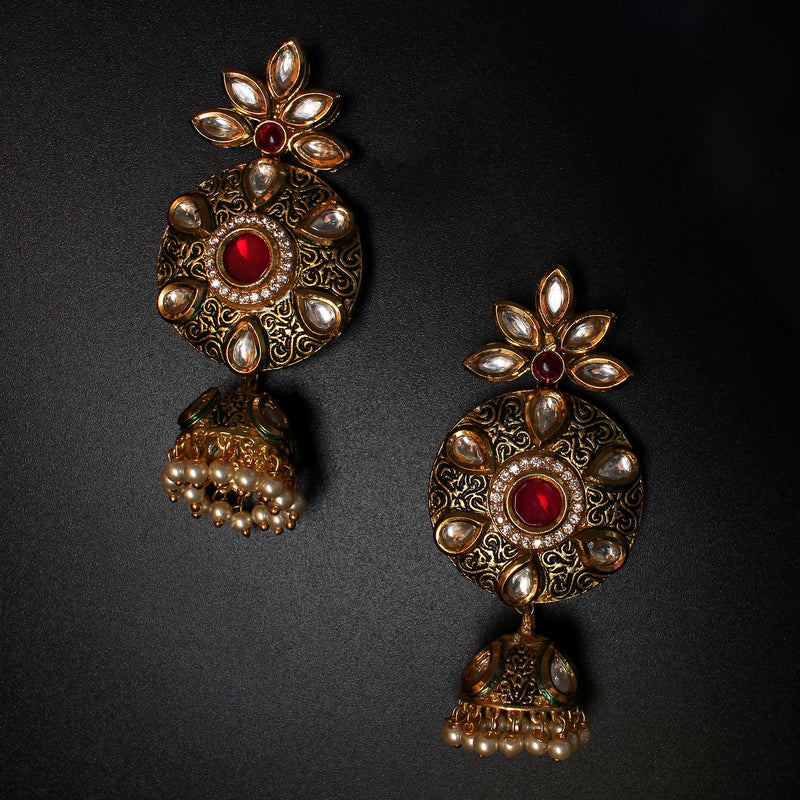 Red stone with Kundan Earrings