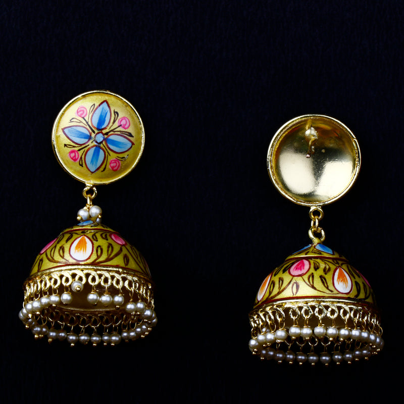 Golden yellow hand painted jhumkas