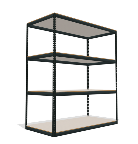 Bulk Boltless Shelving with Wire Mesh DeckingBulk Boltless Shelving with White Laminated Board Decking