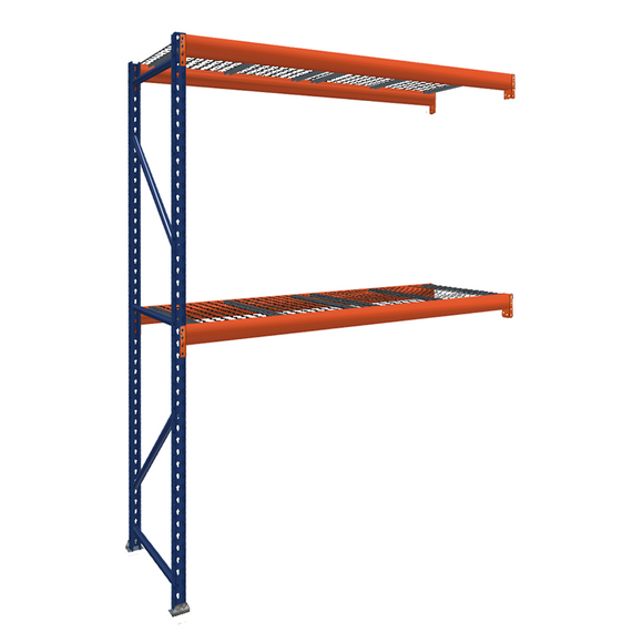 Pallet Rack Add-On Unit with Wire Mesh Decking