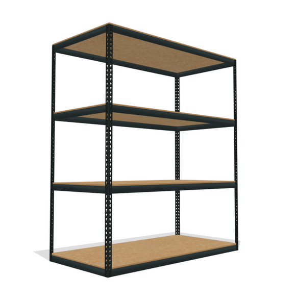 boltless shelving with 4 particle board shelves