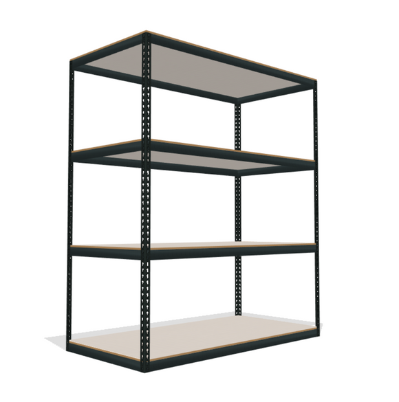 wide boltless shelving unit with four white melamine shelves