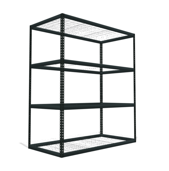 wide boltless shelving unit with mesh decking