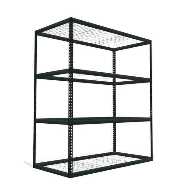 4 shelf boltless shelving with wire mesh decking