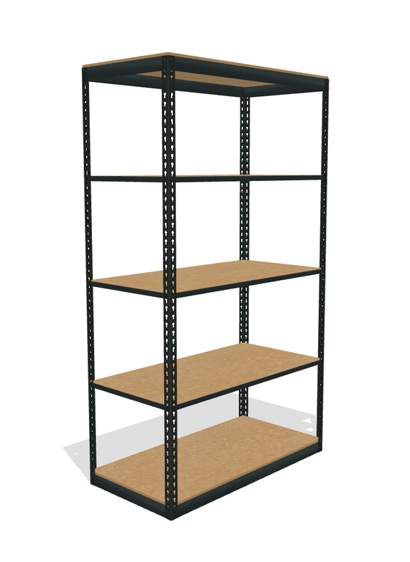 space saver boltless shelving unit with particle board decking