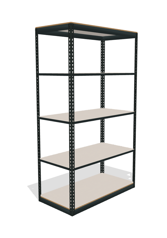 space saver boltltess helving with 5 shelves and laminated board decking