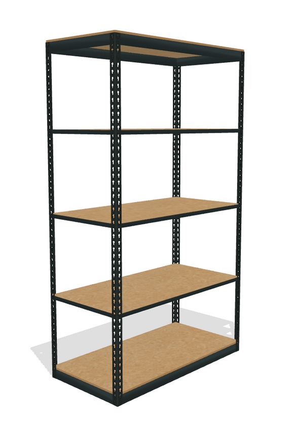 Five particle board shelves on a boltltess shelving unti
