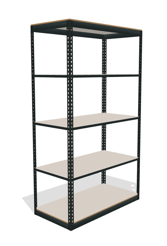 five white melamine shelves on a boltless shelving unit