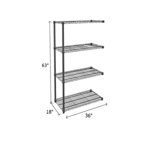 Add-On Unit (black) - 350 lb. Capacity Per Shelf