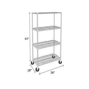 mobile chrome wire shelving unit with 4 shelves