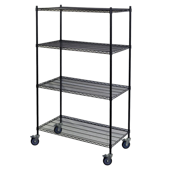 mobile black wire shelving unit