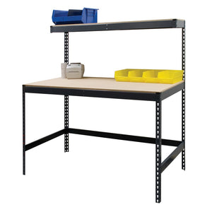 Boltless Workbench with Elevated Shelf