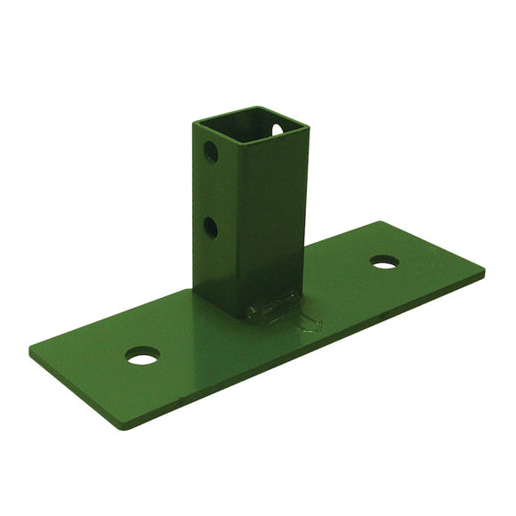 T shaped green metal footplate for fastrak shelving