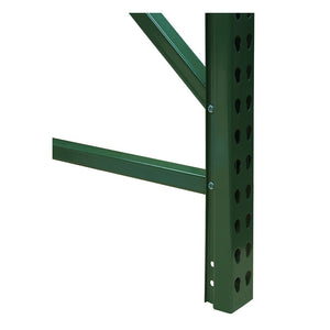 green metal post with cutouts for fastrak shelving