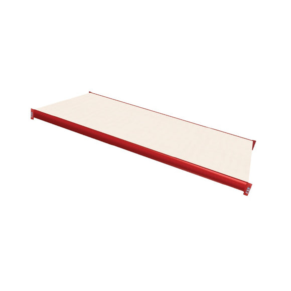 white laminated board decking with red beams
