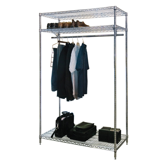 stationary chrome garment rack filled with clothes and shoes