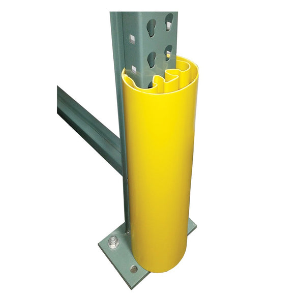 yellow plastic guard fitting over shelving upright